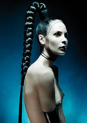 Chad Drinkwater of Suki combines a ponytail and simple plait or braid