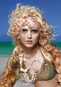 Joey Scandizzo of Rokk Ebony created this beach look with a hot styling iron